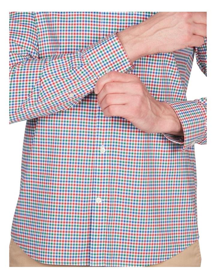 Regular 3 Colour Gingham Long Sleeve Broadcloth Shirt Red image 3