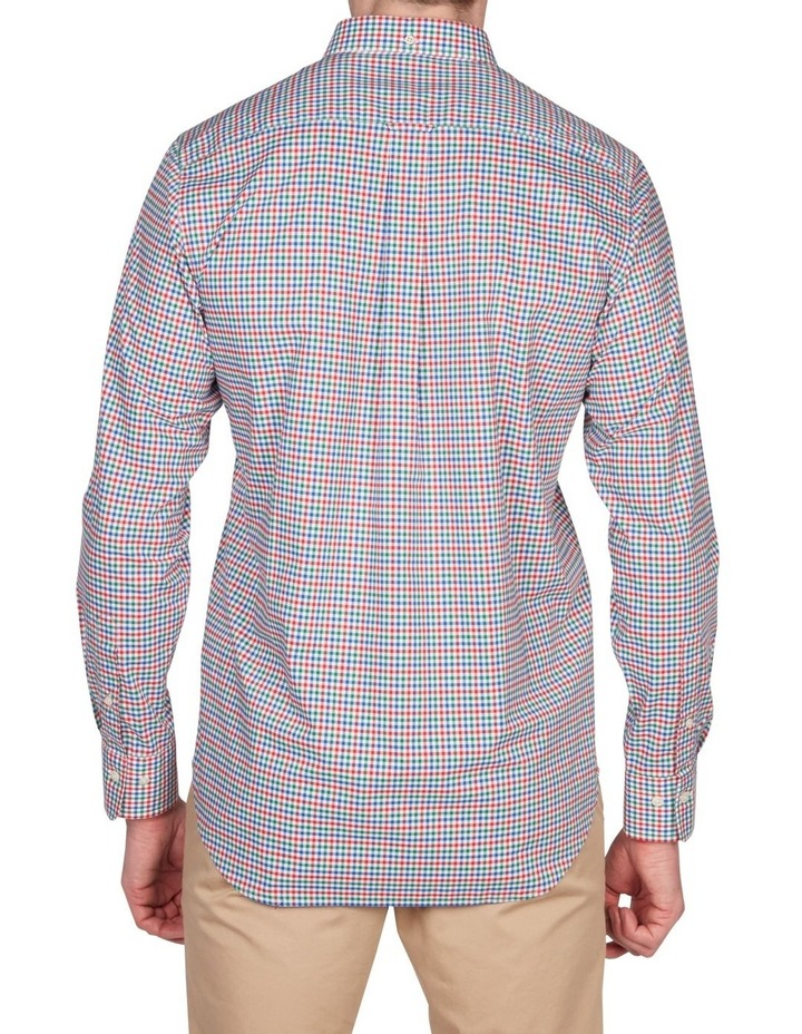 Regular 3 Colour Gingham Long Sleeve Broadcloth Shirt Red image 4