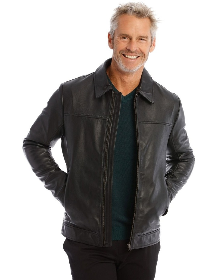 Leather Jacket with Montague Collar image 1