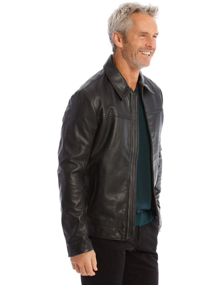 Leather Jacket with Montague Collar image 2