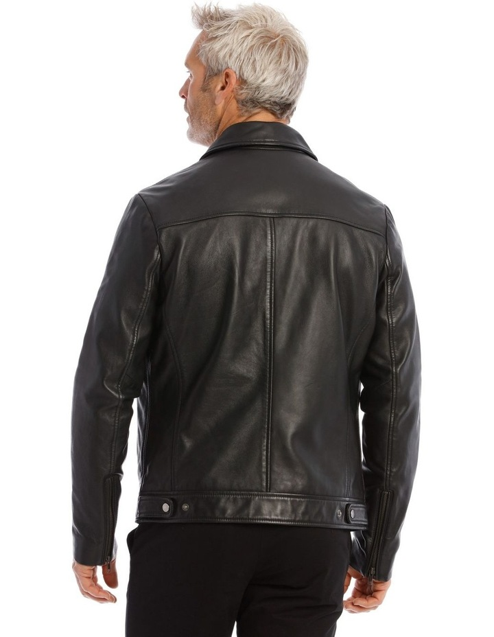 Leather Jacket with Montague Collar image 3