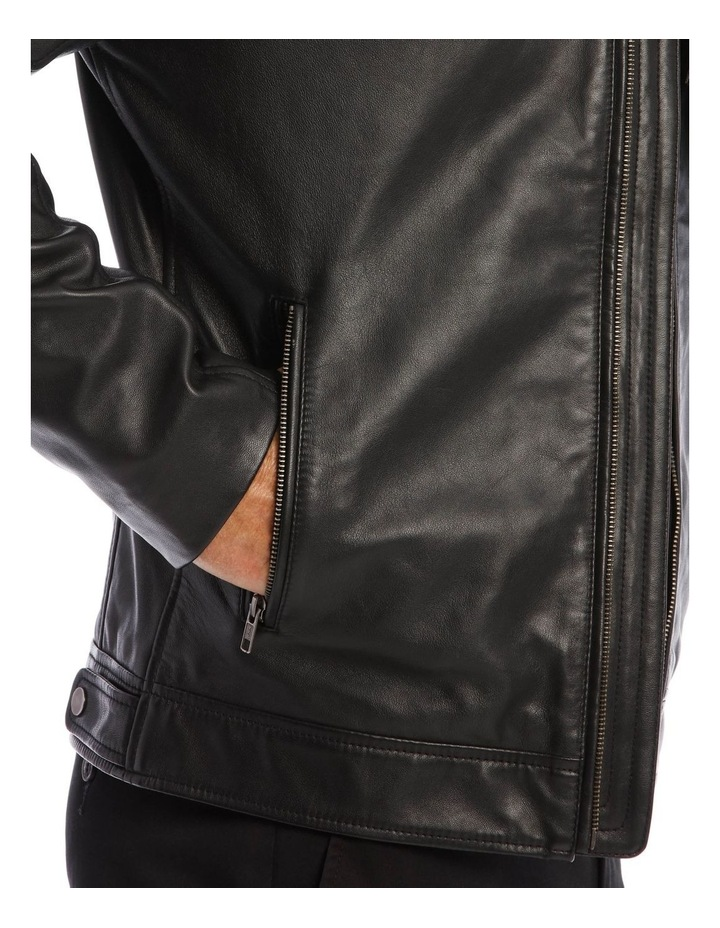 Leather Jacket with Montague Collar image 4