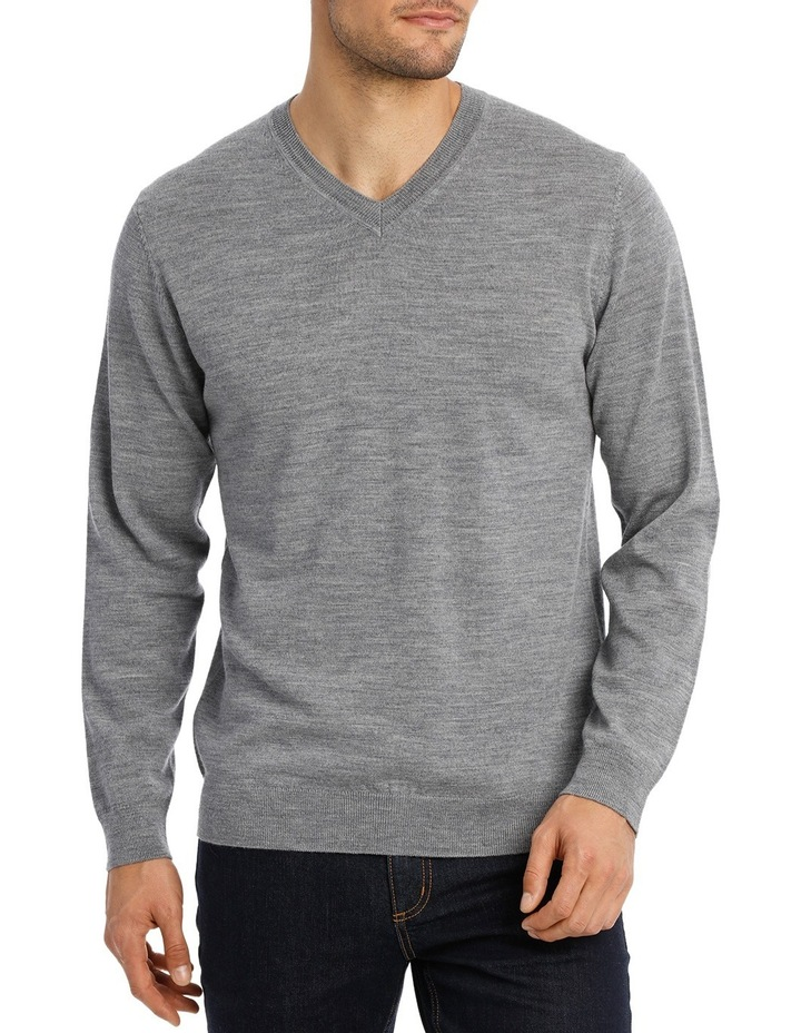 Merino V-neck knit Grey Marle image 1