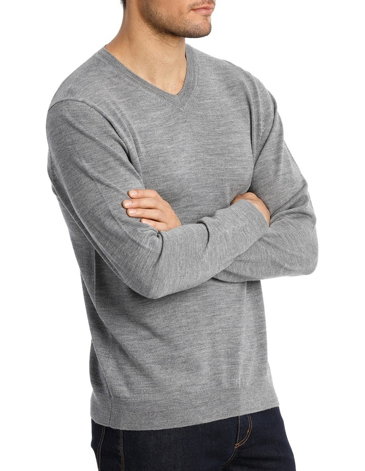 Merino V-neck knit Grey Marle image 2