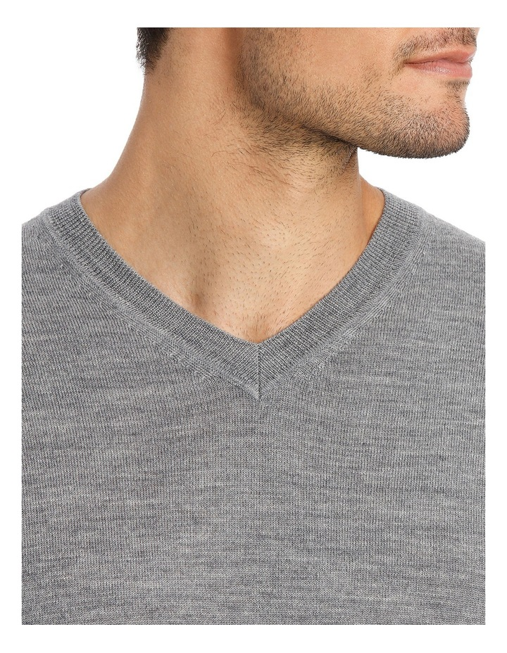 Merino V-neck knit Grey Marle image 4