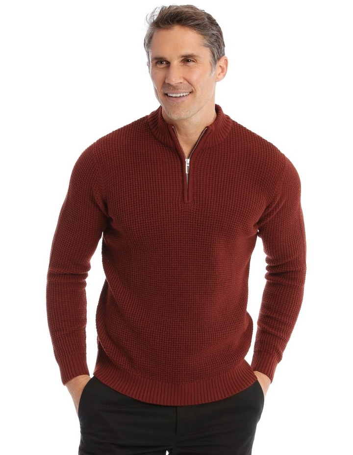 Richmond Quarter-Zip Knit In Rust image 1