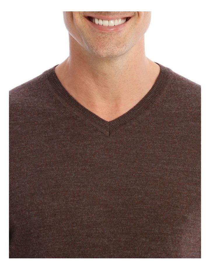 Mansfield Merino V-Neck Knit In Brown image 4