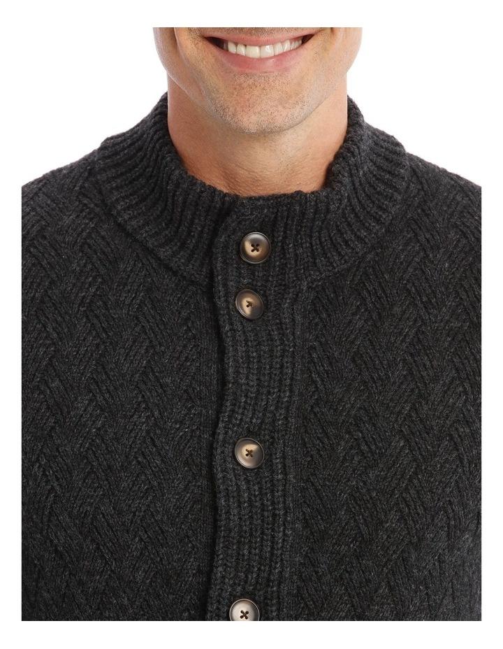 Matlock Basket Weave Cardigan In Charcoal image 4
