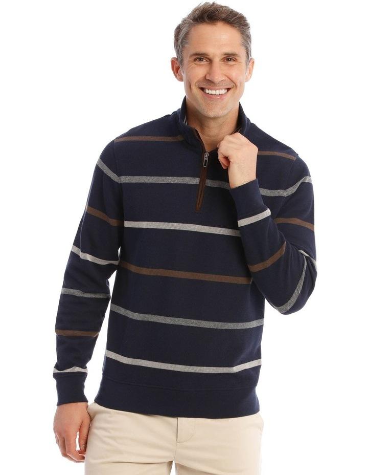 Westbury Quater-Zip Stripe Knit Top In Navy image 1