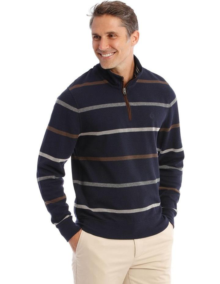 Westbury Quater-Zip Stripe Knit Top In Navy image 2