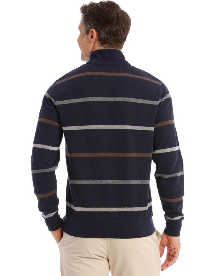 Westbury Quater-Zip Stripe Knit Top In Navy image 3