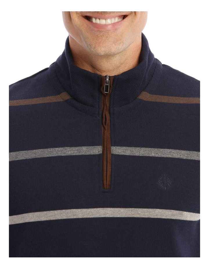 Westbury Quater-Zip Stripe Knit Top In Navy image 4