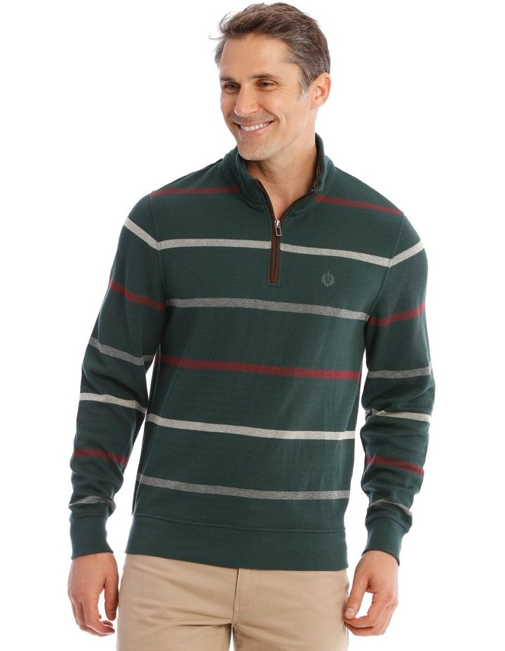 Westbury Quater-Zip Stripe Knit Top In Forest Green image 1