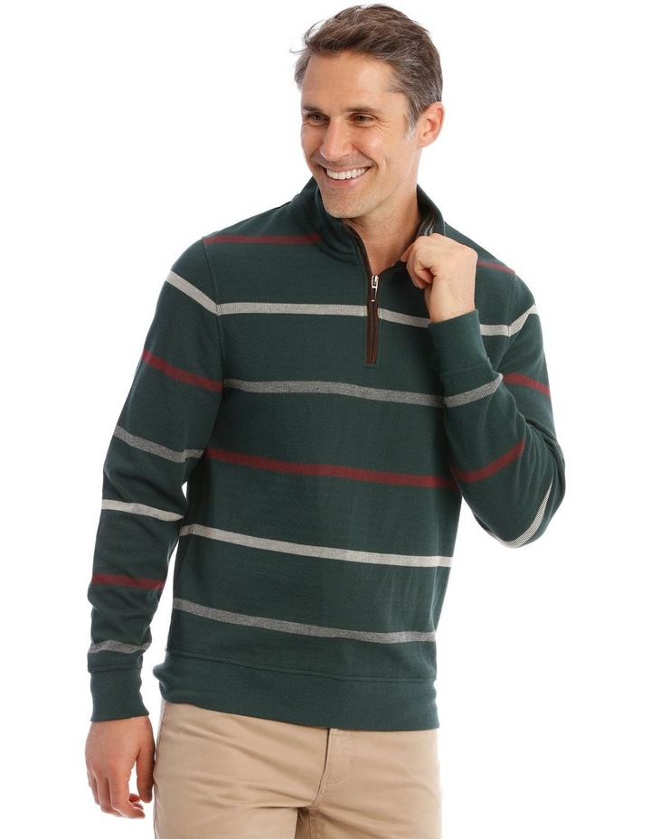 Westbury Quater-Zip Stripe Knit Top In Forest Green image 2