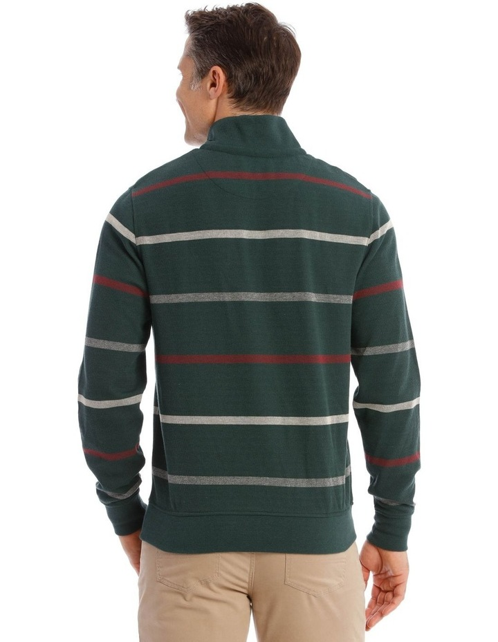 Westbury Quater-Zip Stripe Knit Top In Forest Green image 3