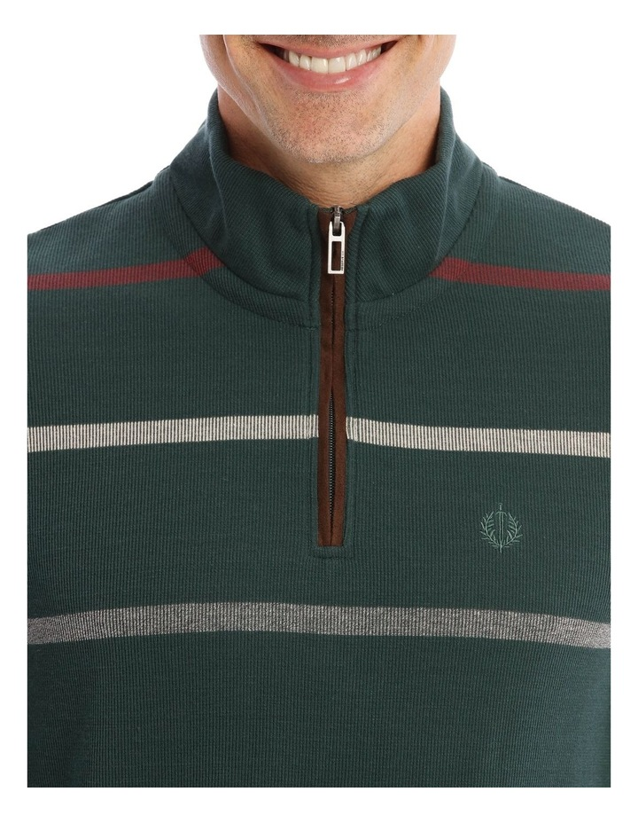 Westbury Quater-Zip Stripe Knit Top In Forest Green image 4