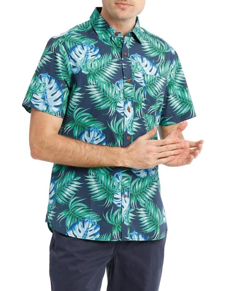 Belize Tropical Leaf Print Short Sleeve Shirt image 1