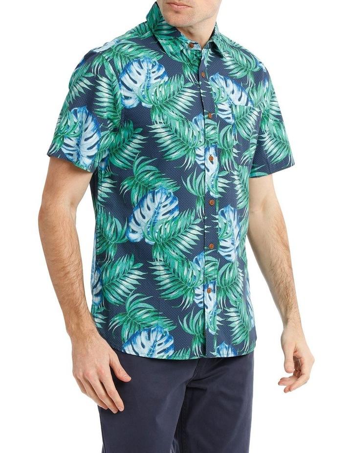Belize Tropical Leaf Print Short Sleeve Shirt image 2