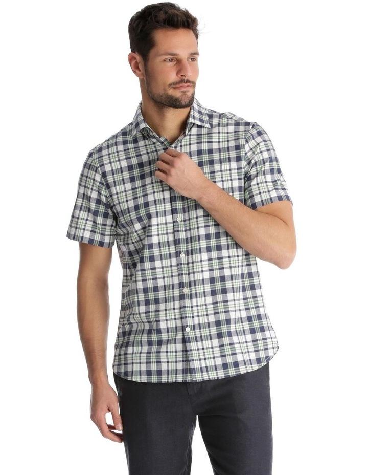 Canteen Slub Check Short-Sleeve Shirt - Green image 1