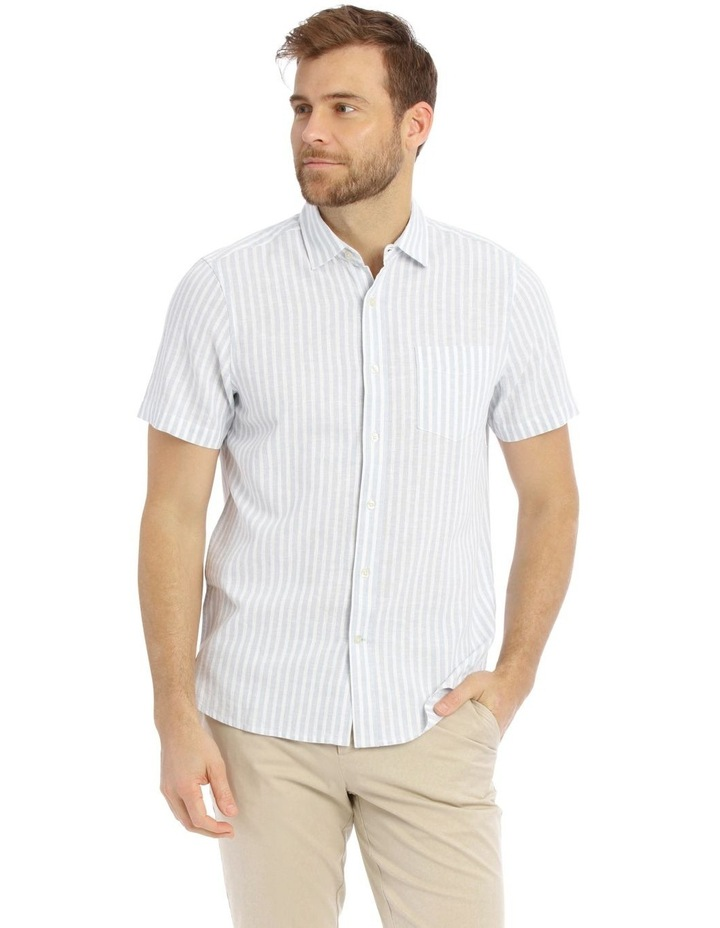 Maroubra Stripe Short-Sleeve Shirt - Light Blue image 1