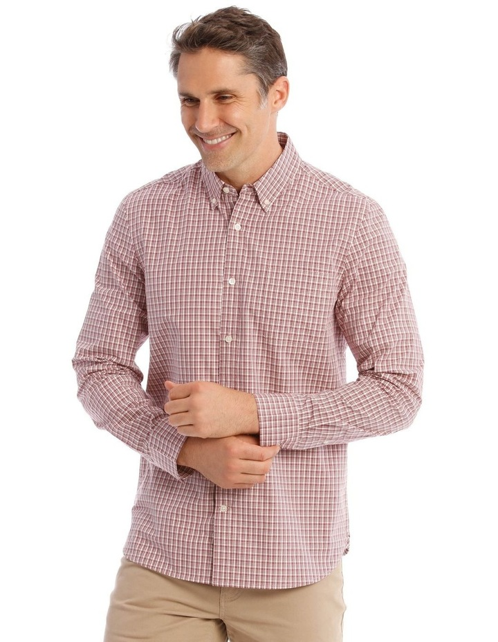 Dean Mini Check Long-Sleeve Shirt In Red image 1