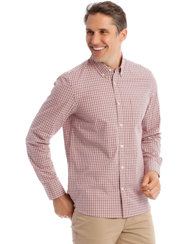 Dean Mini Check Long-Sleeve Shirt In Red image 2