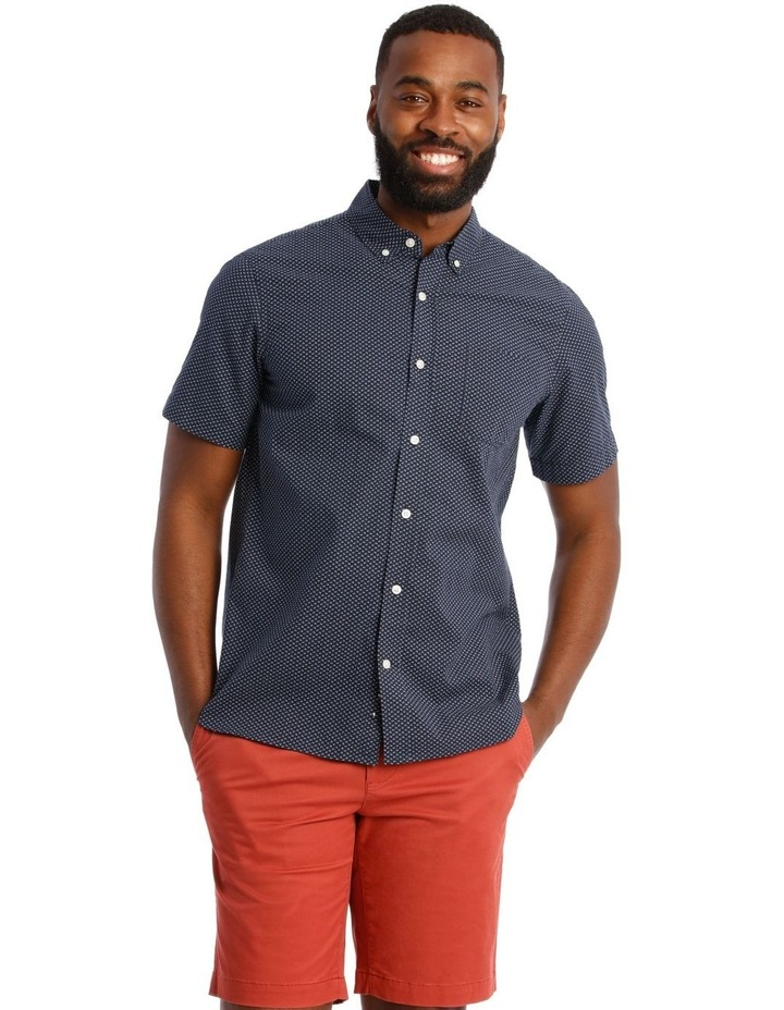 Tangier Print Textured Short Sleeve Shirt in Navy image 1