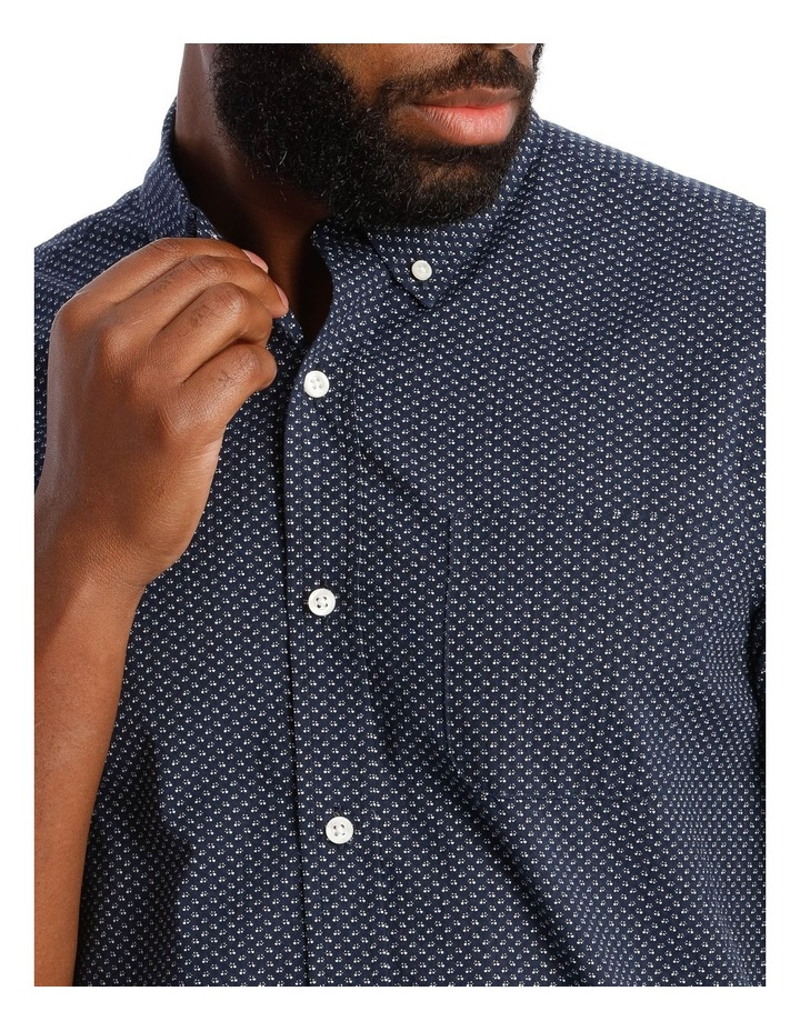 Tangier Print Textured Short Sleeve Shirt in Navy image 4