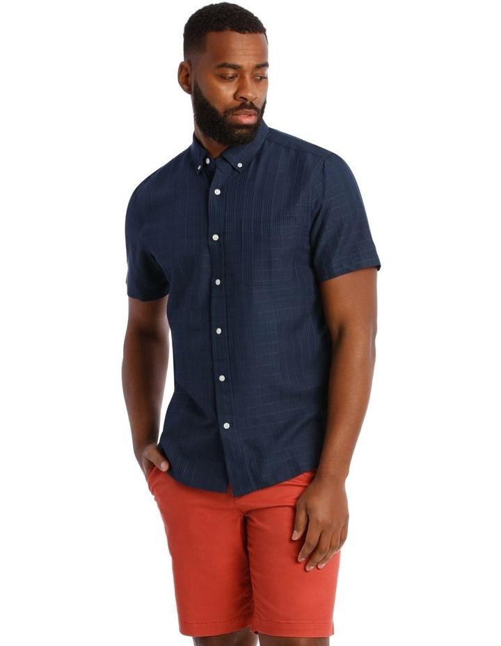 Rabat Dobby Check Soft Touch Short Sleeve Shirt in Navy image 1