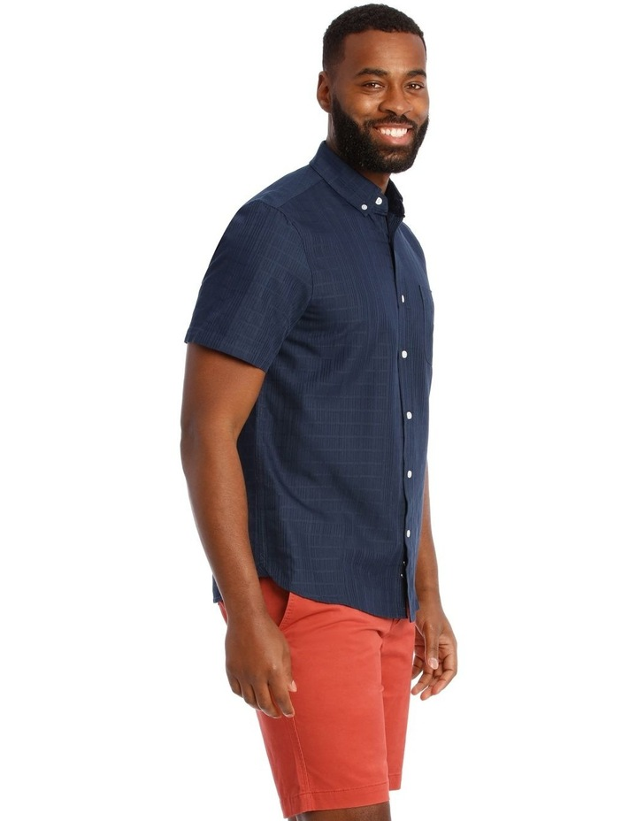 Rabat Dobby Check Soft Touch Short Sleeve Shirt in Navy image 2