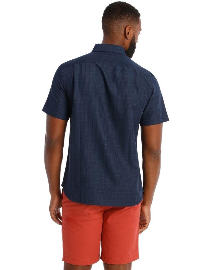 Rabat Dobby Check Soft Touch Short Sleeve Shirt in Navy image 3