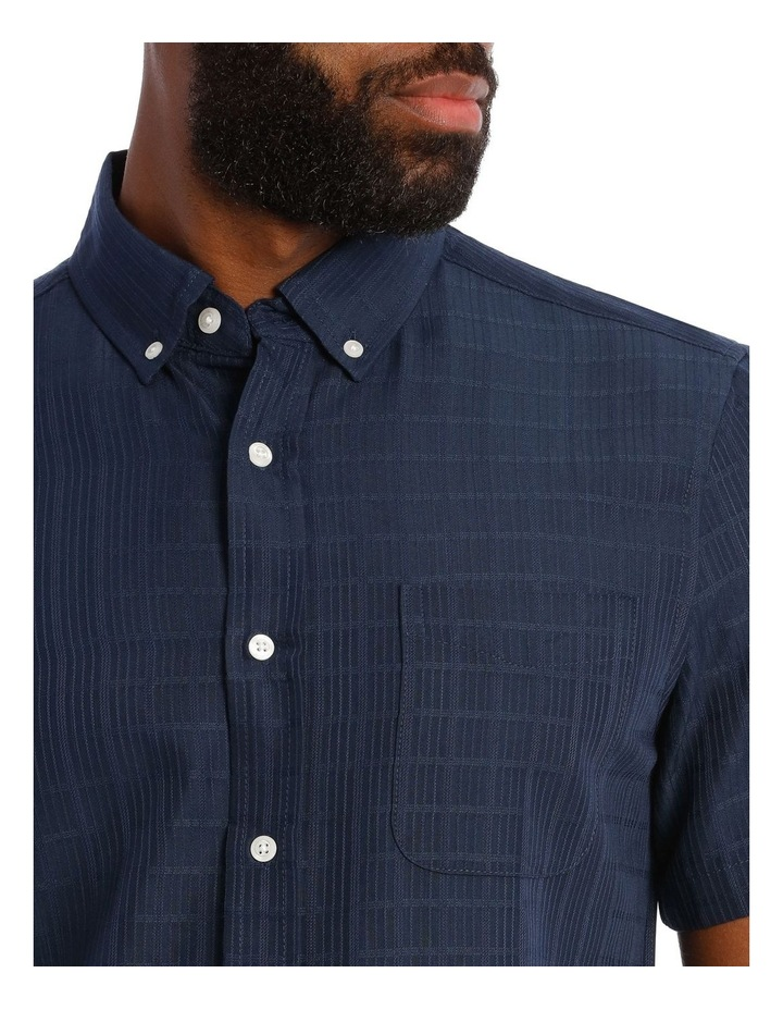 Rabat Dobby Check Soft Touch Short Sleeve Shirt in Navy image 4