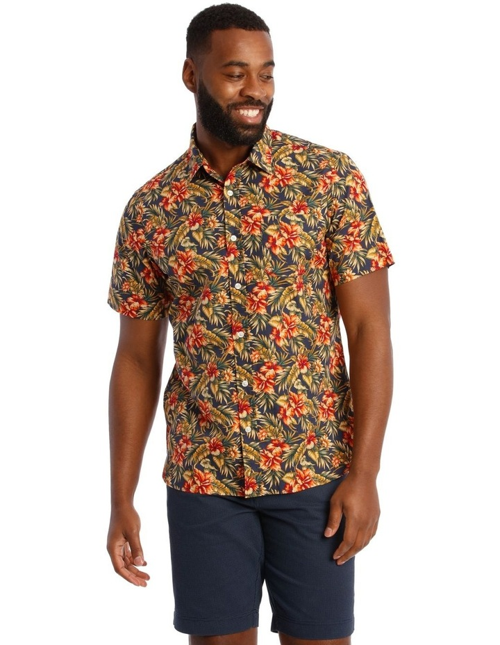 Sienna Floral Short Sleeve Print Shirt in Red image 1