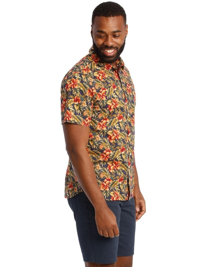 Sienna Floral Short Sleeve Print Shirt in Red image 2