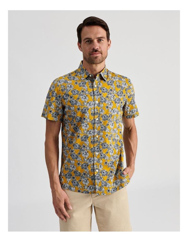 Merzouga Floral Print Short Sleeve Shirt Yellow image 1