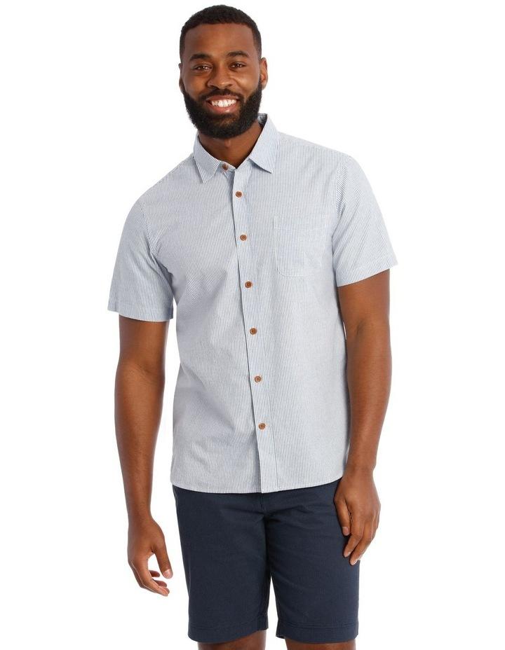 Cairo Slub Stripe Short Sleeve Shirt in Blue image 1