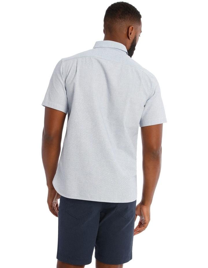 Cairo Slub Stripe Short Sleeve Shirt in Blue image 3