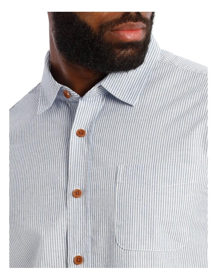 Cairo Slub Stripe Short Sleeve Shirt in Blue image 4
