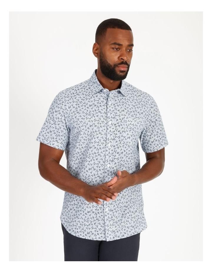 Campbell Short-Sleeve Twig Line Print Shirt image 1