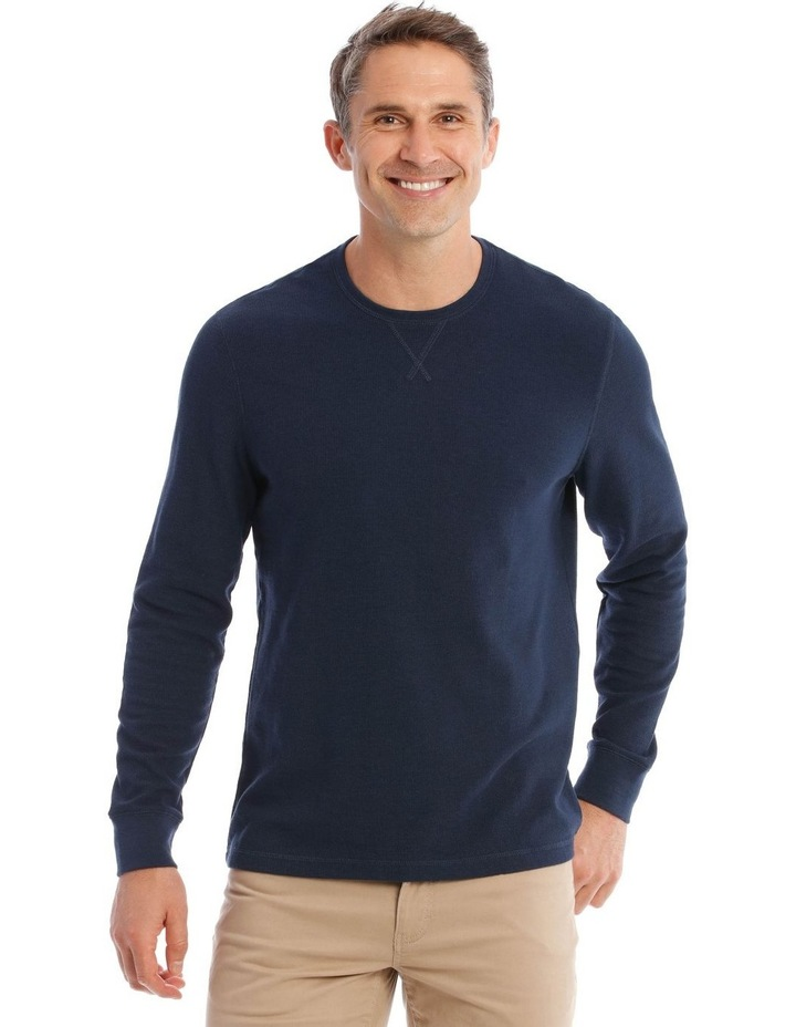 Lachclan Long-Sleeve Waffle-Knit T-Shirt In Navy image 1