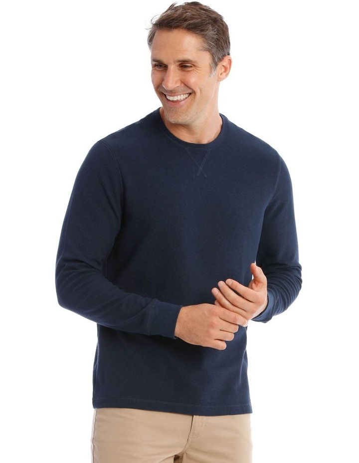 Lachclan Long-Sleeve Waffle-Knit T-Shirt In Navy image 2