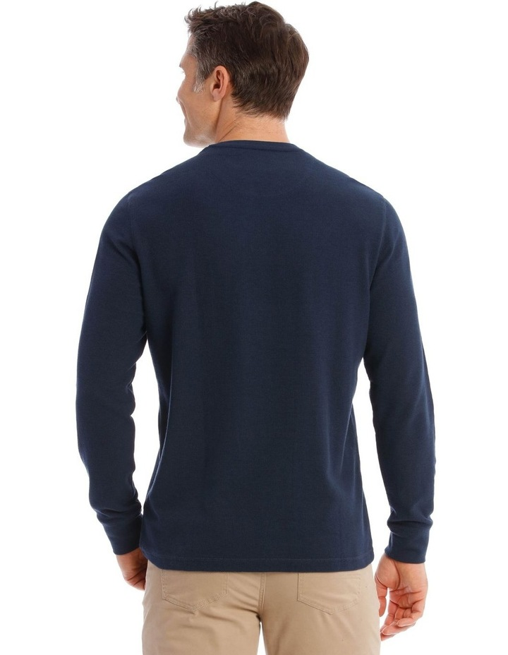 Lachclan Long-Sleeve Waffle-Knit T-Shirt In Navy image 3