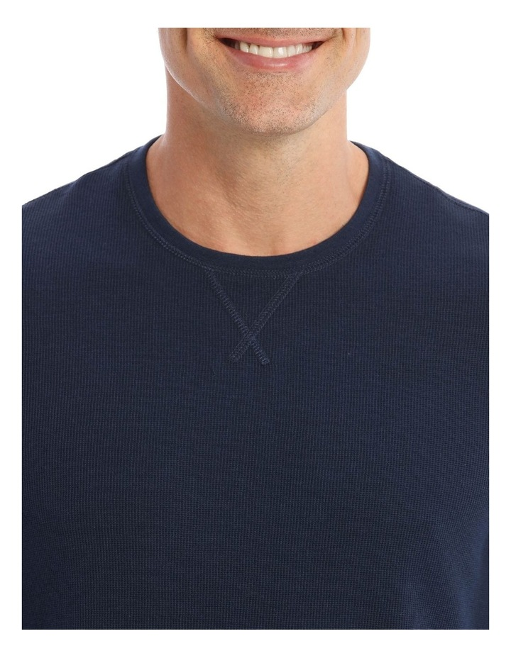 Lachclan Long-Sleeve Waffle-Knit T-Shirt In Navy image 4