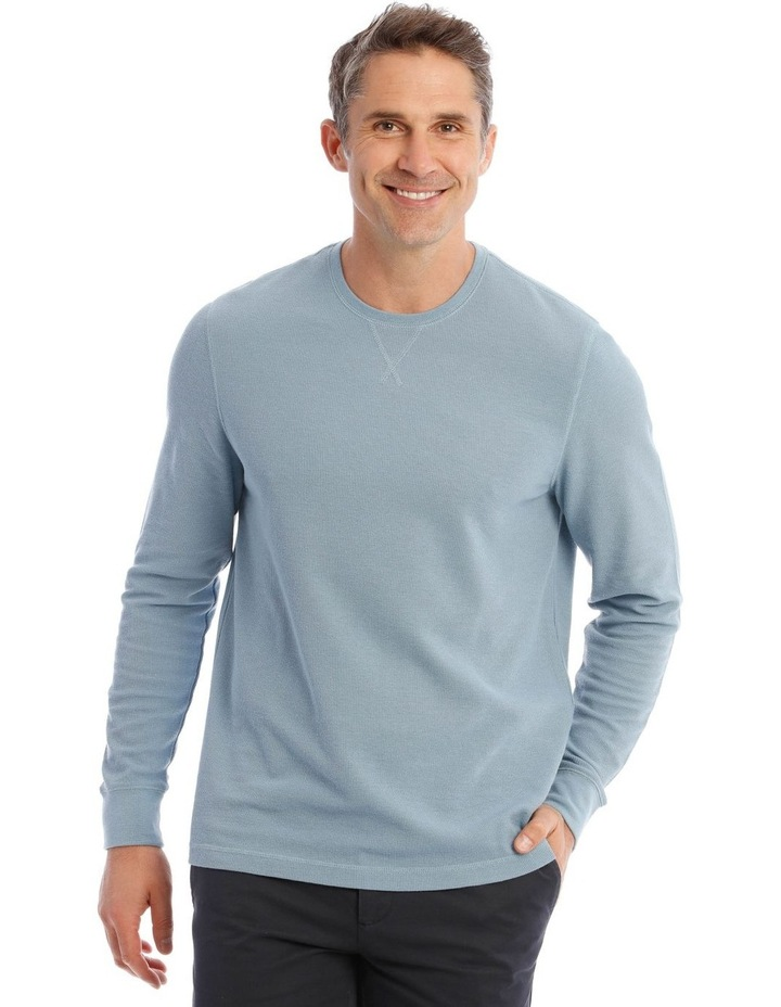 Lachclan Long-Sleeve Waffle-Knit T-Shirt In Artic Blue image 1