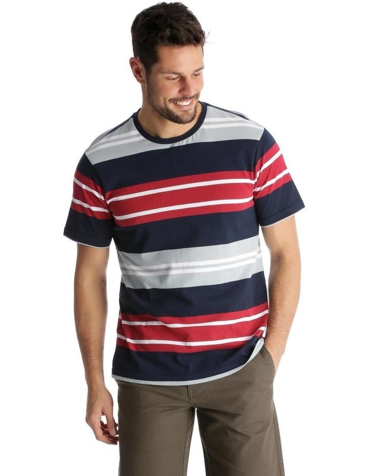Shipton Stripe T-Shirt - Red/Navy image 1