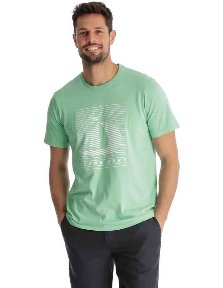 Ocean Wake Print T-Shirt - Green image 1