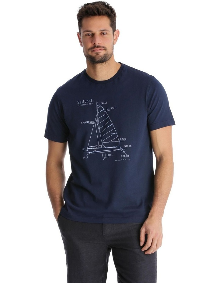 Yacht Diagram Print T-Shirt image 1