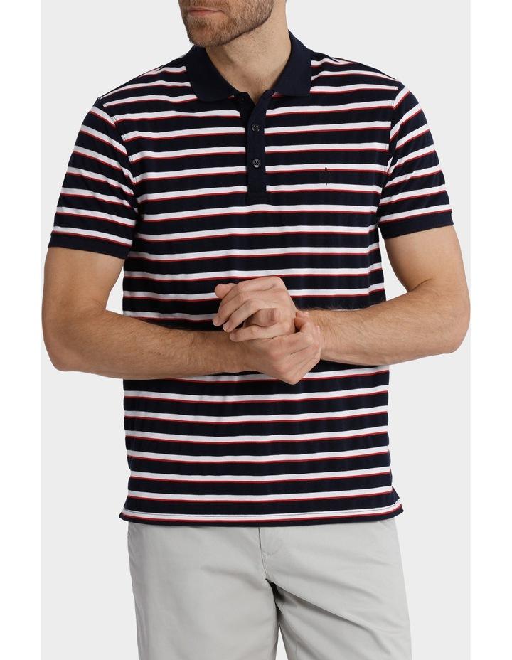 Short Sleeve Pique Stripe Polo image 1
