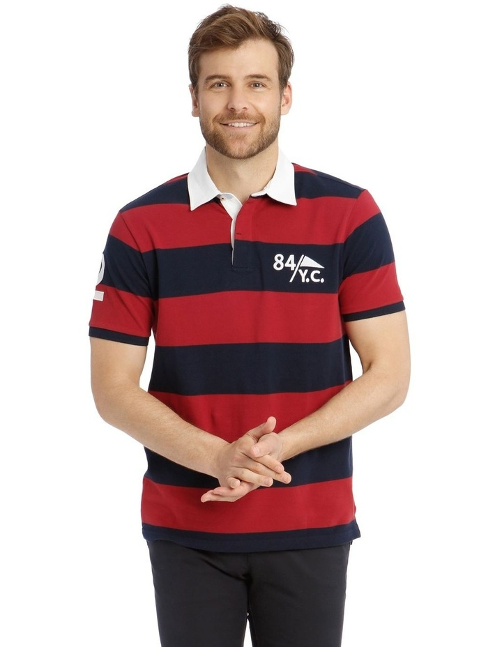 Block Stripe Pique Rugby Polo - Red image 1