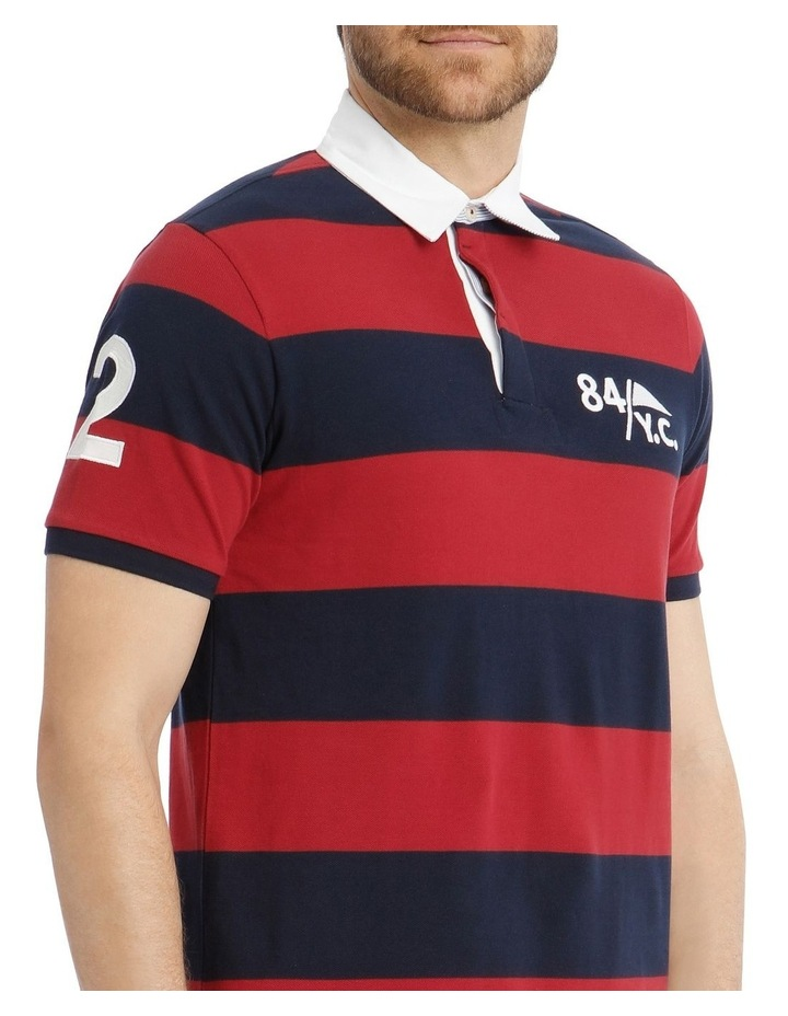 Block Stripe Pique Rugby Polo - Red image 4